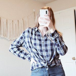 MADEWELL Central Plaid Button Down Blouse Top S